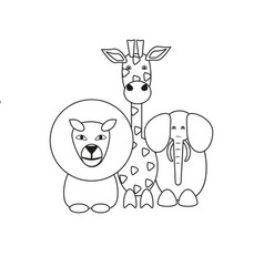 animals in the contour vector image