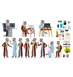 Arab man set office worker set arabic vector