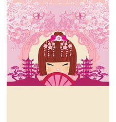Asian girl holding traditional fan - abstract card vector