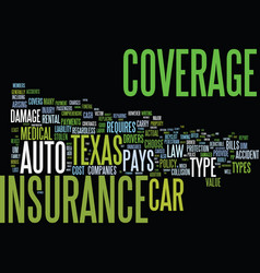Auto insurance texas text background word cloud vector