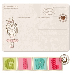 bagirl arrival postcard with set stamps vector image