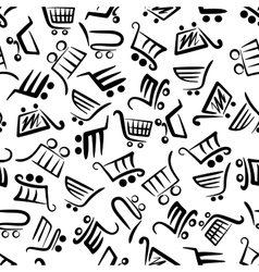 Black and white seamless pattern of shopping carts vector image