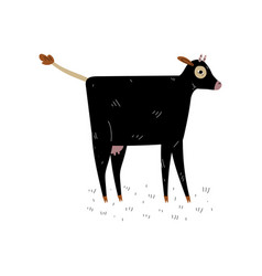 black cow side view dairy cattle animal vector image