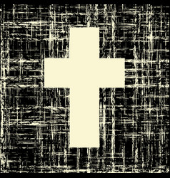 Black cross on grunge background textures vector