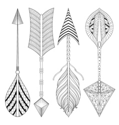 Boho chic ethnic Arrow set with feathers freedom vector image