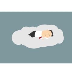 Businessman sleeping on a cloud vector