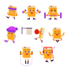 Cartoon book character working out set vector