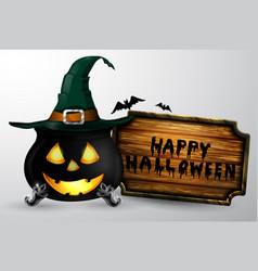 cartoon halloween witchs cauldron vector image