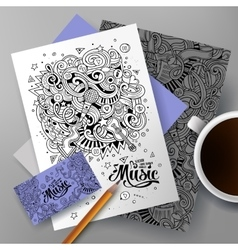 Cartoon hand-drawn doodles Musical identity vector image