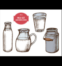 collection of hand drawn colored milk vector image