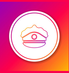 Color line police cap with cockade icon isolated vector