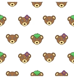 Cute bear with a cap seamless baby pattern vector