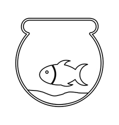 Cute fish mascot in aquarium isolated icon vector