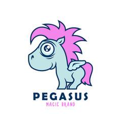 Cute pegasus character wirh wings emblem vector