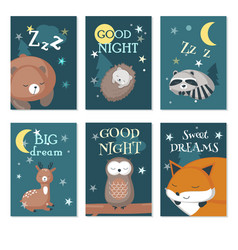 cute sleeping wild animals card set vector image