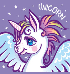 Cute unicorn stars greeting card vector