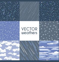 different types of rainfall autumn rainy snow vector image