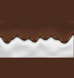 dripping melted chocolate and milk background vector image