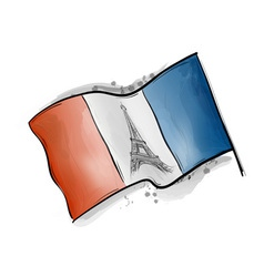 eiffel tower on the flag vector image
