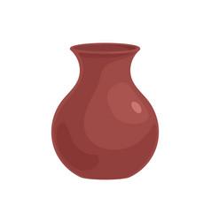 Empty clay vase brown earthen vessel pottery art vector