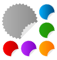 Empty stickers with peeling effect 6 colors blue vector