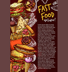 Fast food restaurant banner with junk meal sketch vector