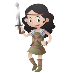 Female warrior holding sharp sword vector