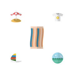 Flat hot set of surfing ocean parasol and other vector