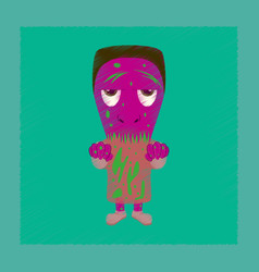 Flat shading style icon zombie men vector