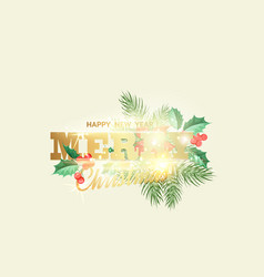 floral garland or red poinsettia with merry vector image