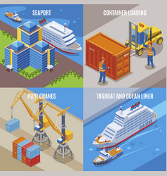 four seaport isometric icon set vector image