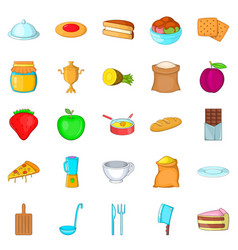 Fresh pastry icons set cartoon style vector