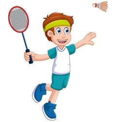 funny boy cartoon playing badminton vector image