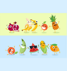 funny fruit and vegetables - set of cartoon vector image