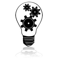 Gears inside lightbulb vector