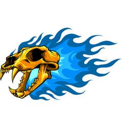 Gold tiger skull vector