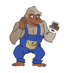 Gorilla with gadgets vector