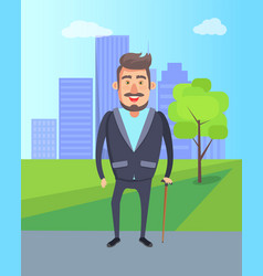grandfather walking city park skyscraper buildings vector image