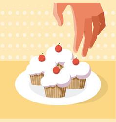 Hadn grabbing a cupcake vector