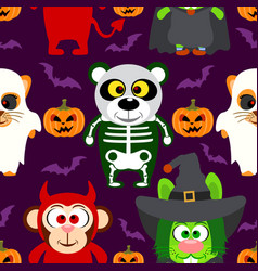 Halloween background seamless with animal vector