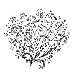Hand drawn isolated creative doodle art vector