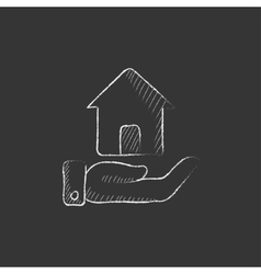 House insurance Drawn in chalk icon vector