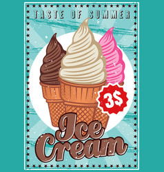 ice cream colored poster in vintage style vector image