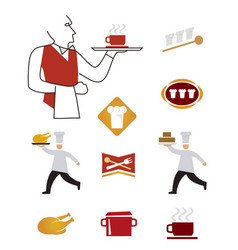Icons cooking waiter vector