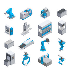 Industrial equipment isometric icons vector