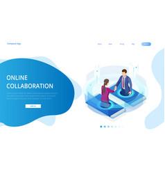 isometric business handshake global online vector image