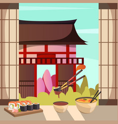 japan food architecture orthogonal composition vector image