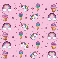 Kawaii pattern design vector