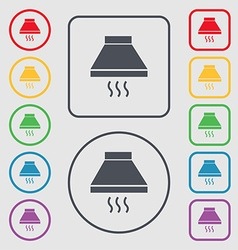 Kitchen hood icon sign Symbols on the Round and vector image