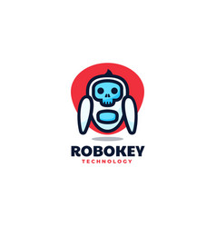 logo robot simple mascot style vector image